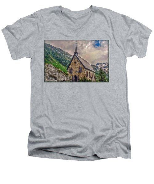 Men's V-Neck T-Shirt featuring the photograph Mountain Chapel by Hanny Heim
