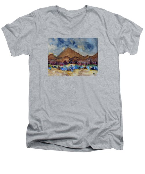 Men's V-Neck T-Shirt featuring the painting Mountain Desert Scene by Connie Valasco