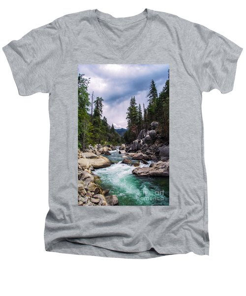 Men's V-Neck T-Shirt featuring the photograph Mountain Emerald River Photography Print by Jerry Cowart