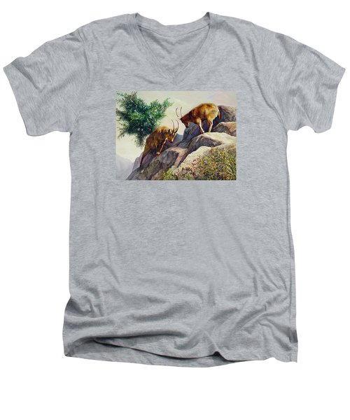 Mountain Goats - Powerful Fight  Men's V-Neck T-Shirt by Svitozar Nenyuk
