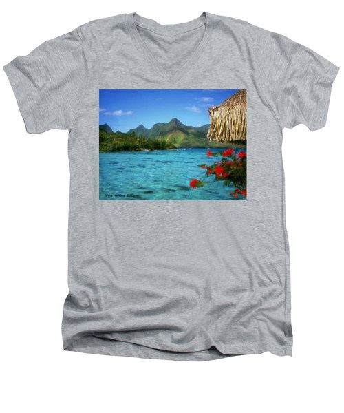 Men's V-Neck T-Shirt featuring the painting Mountain Lake by Bruce Nutting