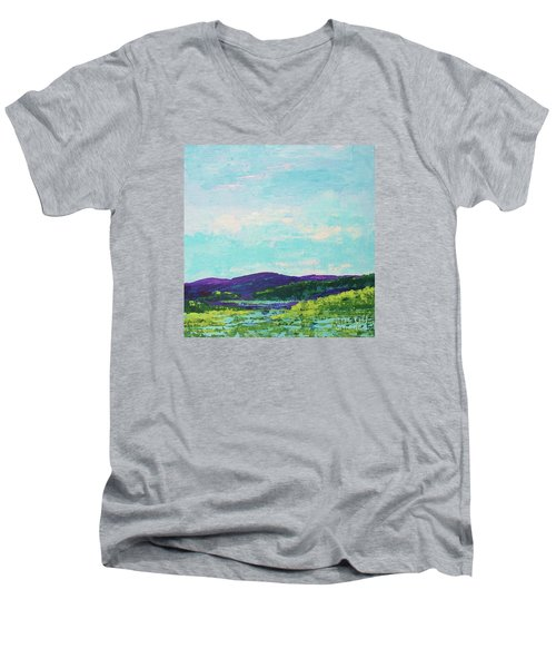 Mountain Lake Men's V-Neck T-Shirt by Gail Kent