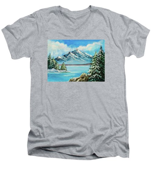 Men's V-Neck T-Shirt featuring the painting Mountain Lake In Winter Original Painting Forsale by Bob and Nadine Johnston