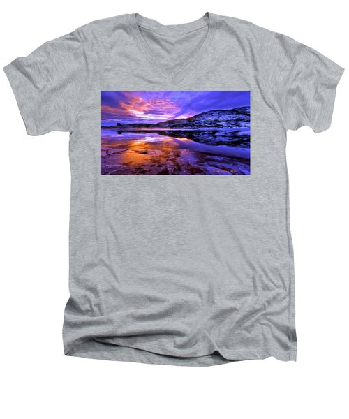 Men's V-Neck T-Shirt featuring the painting Mountain Lake Sunset by Bruce Nutting