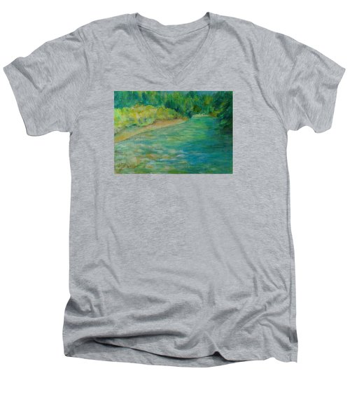 Mountain River In Oregon Colorful Original Oil Painting Men's V-Neck T-Shirt