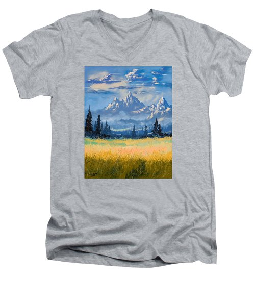 Men's V-Neck T-Shirt featuring the painting Mountain Valley by Richard Faulkner