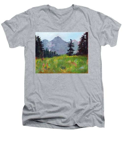 Mountain View Men's V-Neck T-Shirt by C Sitton