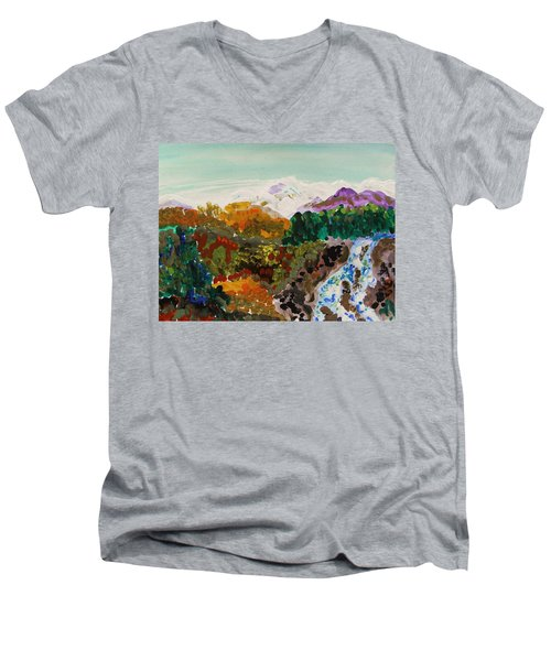 Mountain Water Men's V-Neck T-Shirt by Mary Carol Williams