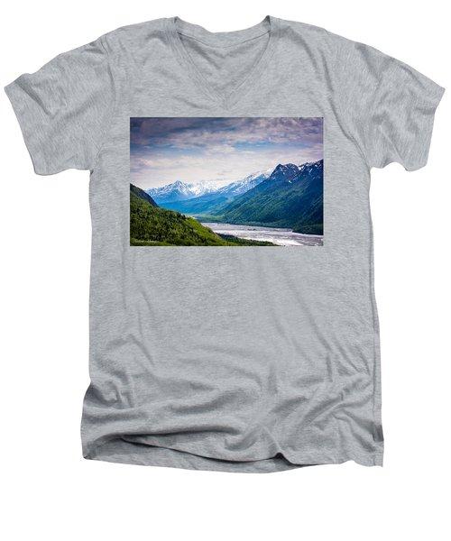 Mountains Along Seward Highway Men's V-Neck T-Shirt by Andrew Matwijec