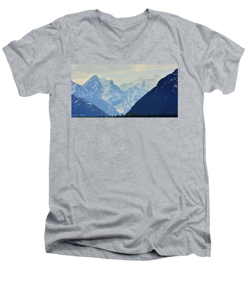 Mountains Near Matanuska Glacier Men's V-Neck T-Shirt by Andrew Matwijec