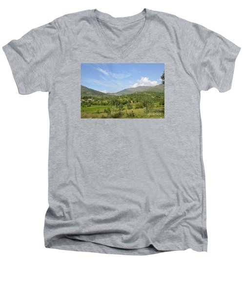 Men's V-Neck T-Shirt featuring the photograph Mountains Sky And Clouds Swat Valley Pakistan by Imran Ahmed