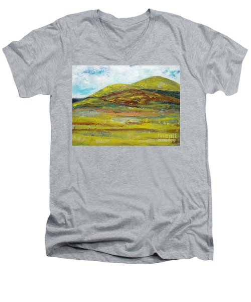 Men's V-Neck T-Shirt featuring the painting Mountains  by Reina Resto