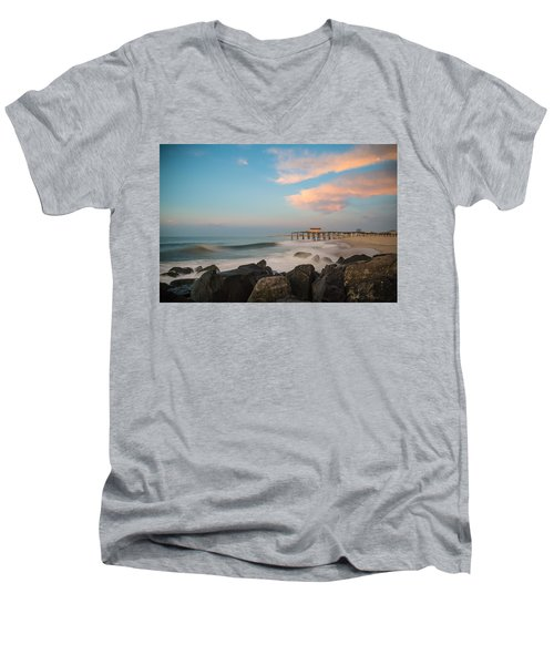 Men's V-Neck T-Shirt featuring the photograph Move Over Moon by Kristopher Schoenleber