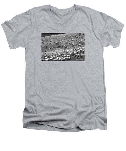 Men's V-Neck T-Shirt featuring the photograph Moving Hillside by Nareeta Martin