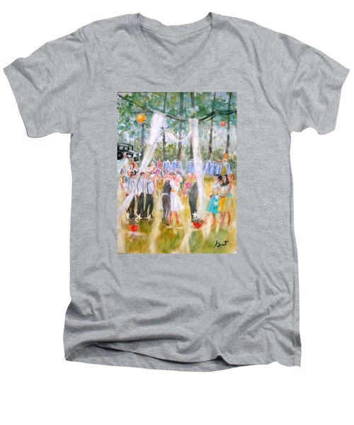 Mr. And Mrs. Matt Parker Men's V-Neck T-Shirt by Gertrude Palmer