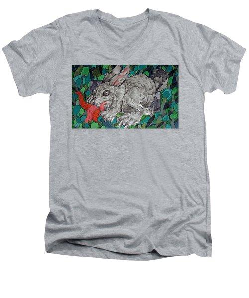 Mr Greedy Bunny Men's V-Neck T-Shirt
