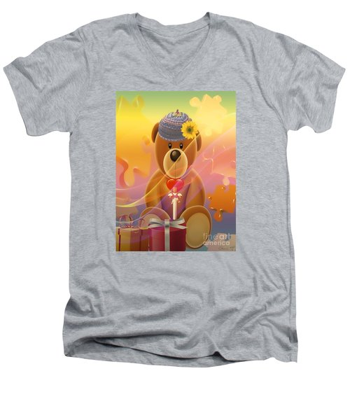 Mr. Teddy Bear Men's V-Neck T-Shirt