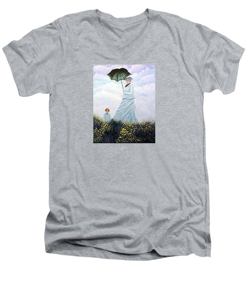Men's V-Neck T-Shirt featuring the painting Mrs. Monet And Son by Fran Brooks