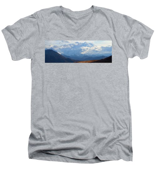 Men's V-Neck T-Shirt featuring the photograph Mt. Denali by Ann Lauwers