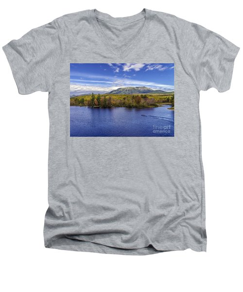 Mt Katahdin Hdr Men's V-Neck T-Shirt