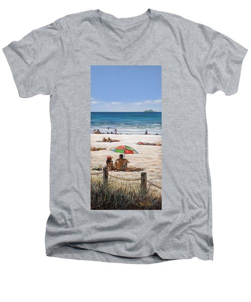 Men's V-Neck T-Shirt featuring the painting Mt Maunganui Beach 090209 by Sylvia Kula