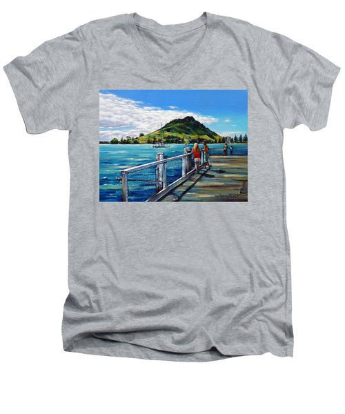 Men's V-Neck T-Shirt featuring the painting Mt Maunganui Pier 140114 by Selena Boron