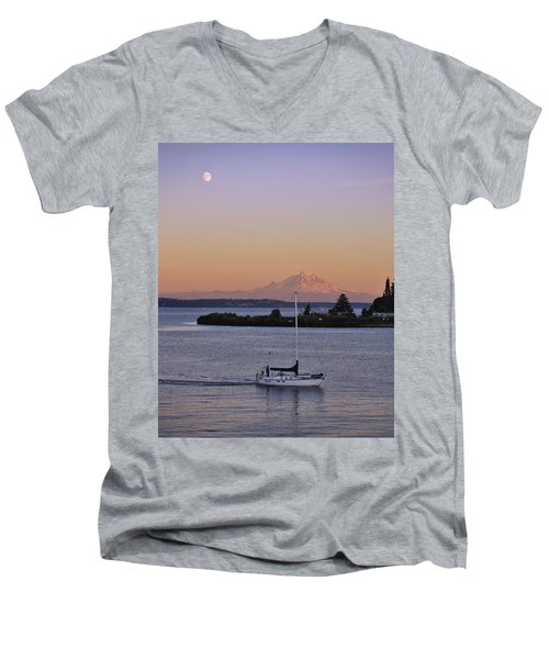 Mt. Rainier Afterglow Men's V-Neck T-Shirt