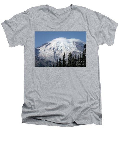 Men's V-Neck T-Shirt featuring the photograph Mt. Rainier In August 2 by Chalet Roome-Rigdon