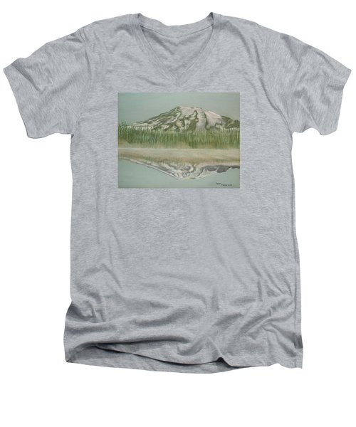 Men's V-Neck T-Shirt featuring the pastel Mt Rainier by Terry Frederick