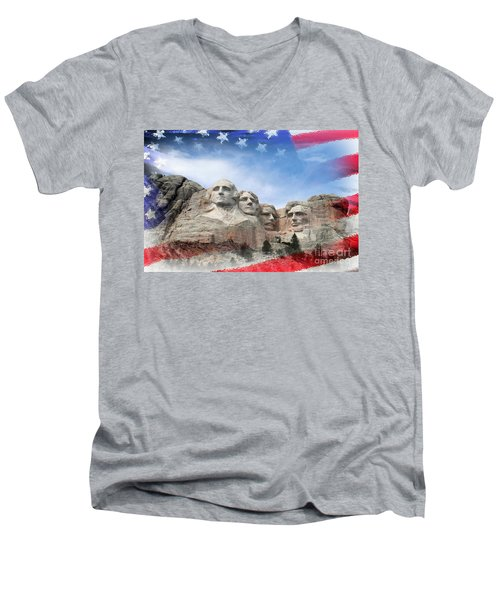 Mt Rushmore Flag Frame Men's V-Neck T-Shirt