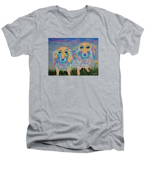 Men's V-Neck T-Shirt featuring the painting Mugi And Tatami by Kathleen Sartoris