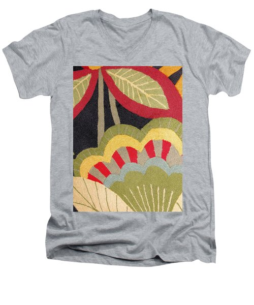 Men's V-Neck T-Shirt featuring the photograph Multi-colored Flowers Leaves Textile by Janette Boyd