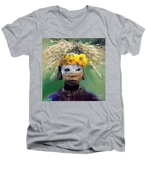 Muris Tribe Africa Men's V-Neck T-Shirt by Vannetta Ferguson