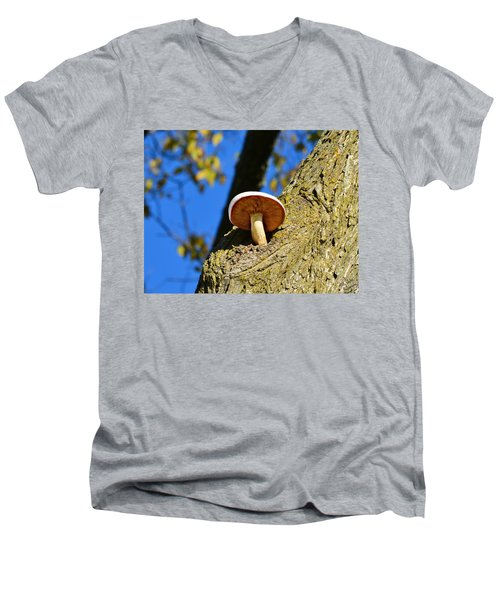 Men's V-Neck T-Shirt featuring the photograph Mushroom In A Tree by Ally  White
