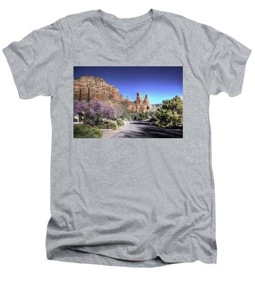 Men's V-Neck T-Shirt featuring the photograph Mushroom Rock by Lynn Geoffroy
