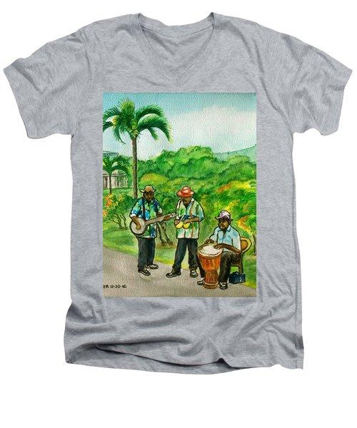 Musicians On Island Of Grenada Men's V-Neck T-Shirt by Frank Hunter