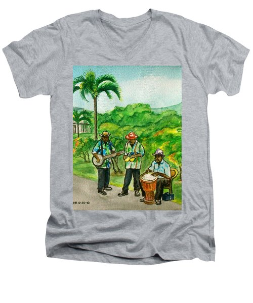 Musicians On Island Of Grenada Men's V-Neck T-Shirt
