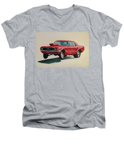 Men's V-Neck T-Shirt featuring the painting Mustang Launch by Stacy C Bottoms