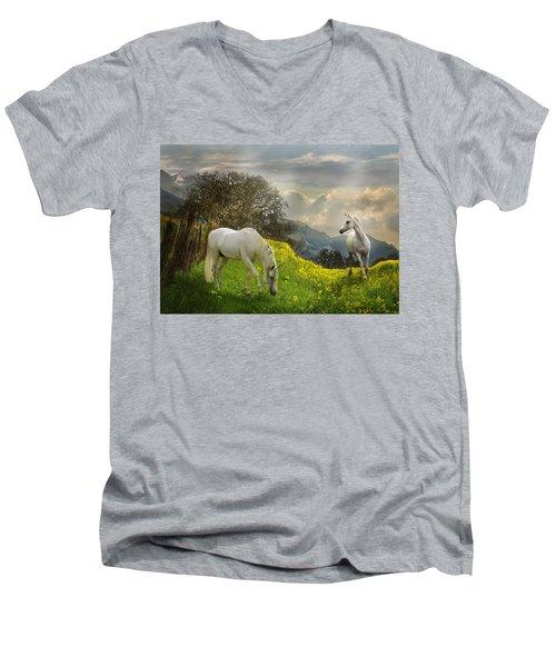 Mustard Reunion Men's V-Neck T-Shirt by Melinda Hughes-Berland