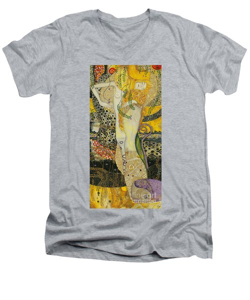 My Acrylic Painting As An Interpretation Of The Famous Artwork Of Gustav Klimt - Water Serpents I Men's V-Neck T-Shirt by Elena Yakubovich