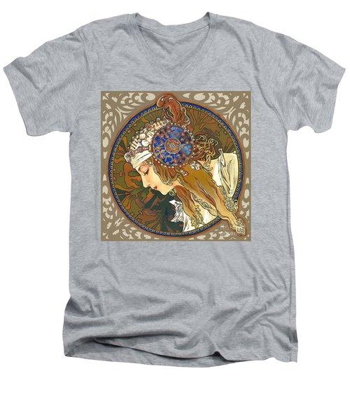 My Acrylic Painting As Interpretation Of Alphonse Mucha- Byzantine Head. The Blonde. Diagonal Frame. Men's V-Neck T-Shirt