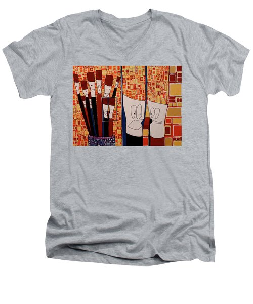 Men's V-Neck T-Shirt featuring the painting My Brushes Are Talking About Me by Donna Howard