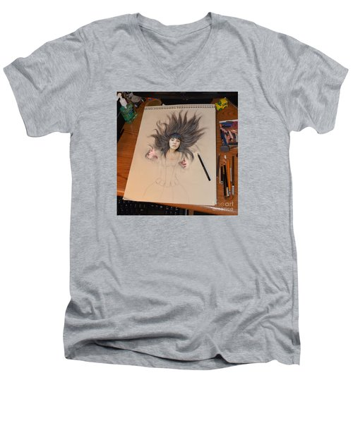 My Drawing Of A Beauty Coming Alive Men's V-Neck T-Shirt by Jim Fitzpatrick