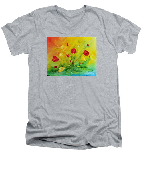 Men's V-Neck T-Shirt featuring the painting My Favourite by Teresa Wegrzyn