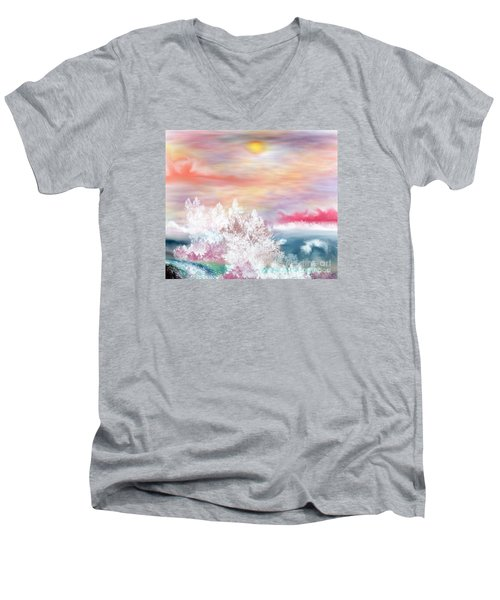Men's V-Neck T-Shirt featuring the painting My Heaven by Lori  Lovetere