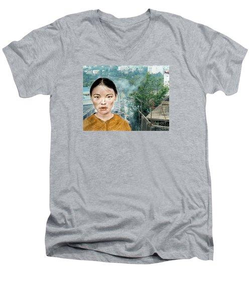 My Kuiama A Young Vietnamese Girl Version II Men's V-Neck T-Shirt by Jim Fitzpatrick