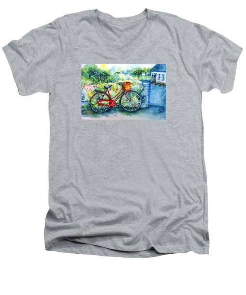My Red Bicycle Men's V-Neck T-Shirt by Trudi Doyle