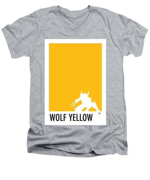 My Superhero 05 Wolf Yellow Minimal Poster Men's V-Neck T-Shirt by Chungkong Art