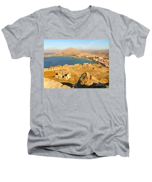 Men's V-Neck T-Shirt featuring the photograph My Toy Castle by Vicki Spindler
