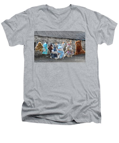 Toys On Washing Line Men's V-Neck T-Shirt by Nina Ficur Feenan